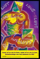 view Two men with square heads bearing the positive and minus signs of HIV perform anal sex with the words 'safe-love', 'safe-lust' and two joined hearts across their bodies; a reminder to gay men to practice safe sex by the AIDS Council of New South Wales. Colour lithograph by David McDiarmid, 1992.