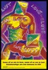 Two men with square heads bearing the positive and minus signs of HIV perform anal sex with the words 'safe-love', 'safe-lust' and two joined hearts across their bodies; a reminder to gay men to practice safe sex by the AIDS Council of New South Wales. Colour lithograph by David McDiarmid, 1992.