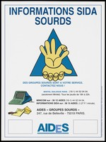 "view Two hands on top of each other within a blue triangle with a letter, envelope and pen and details of AIDS information services for the deaf: Minitel Dialogue Paris and AIDES ""Groupes Sourds""; advertisement by AIDES. Colour lithograph."