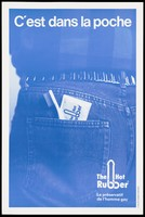"""view The rear jeans pocket of a gay man with a packet labelled """"The hot rubber"""" and a toothbrush; advertisement for Hot Rubber condoms for gay men. Colour lithograph."""