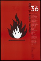 view Black and white flames against a red background with a list of names representing an advertisement for 'exposicion de 36', a fair showing an exhibition of AIDS posters by Artis Association . Colour lithograph.