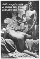 """view A man wearing a devil's horned mask and a condom prepares to have anal sex with another man dressed up as an angel with wings who lies down on draped materials; with the message: """"Put a condom on and dive into pleasure without playing with fire""""; an advertisement for World AIDS Day, 1 December 1992 by ARIS (Association of gays and lesbians in Lyon). Lithograph by Félix [?]."""