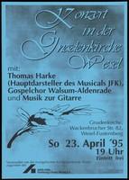 view Benefit concert for AIDS-Hilfe Duisberg/Kreis Wesel. Colour photocopy, 1995.