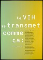 view Ways in which the HIV virus is transmitted representing one of a series of posters in an advertising campaign about AIDS by the Agence Française Lutte Contre le SIDA. Colour lithograph.