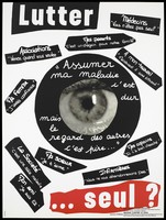 """view An eye at the centre of a poster entitled """"Lutter"""" [The fight] littered with strips of white text on black about attitudes to AIDS; one of a series of posters representing an advertisement for a competition for posters of images against AIDS organised by CRIPS. Colour lithograph by students from the Lycée Polyvalant Tertiaire Paul Doumer."""