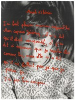 view A sequence of instant colour photographs of fifteen year old students from the Collège les Toulouses against blackboards bearing messages relating to AIDS awareness; one of a series of posters representing an advertisement for a competition for posters of images against AIDS. Colour lithograph by the students.