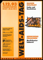 view A curtained stage from which a keyboard, an arrow, musical notes, a mouth, an eye and various other symbols emanate; an advertisement for a benefit cabaret performance in support of World AIDS Day on 1 December 1993 at the Frankfurter Hof, Mainz. Colour lithograph, 1993.