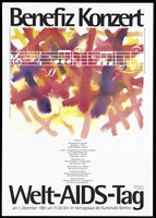 view A musical score against a background of painted red and yellow crosses; advertising a benefit concert in support of World AIDS Day on 1 December 1991 at the Kunsthalle, Bremen. Colour lithograph by Becker Repro Service.