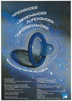view A blue condom amidst white swirling lines against a grey background; advertising an AIDS prevention action week in Munich. Colour lithograph by Karl Bessinger and Grafix MUC, 1994.