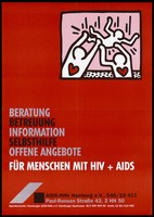 view Two silhouette figures by Keith Haring with red hearts holding another figure aloft; advertising services provided by the AIDS-Hilfe Hamburg e.V. Colour lithograph, 199-.