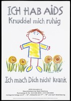 view A forlorn looking child among flowers representing a child with AIDS. Colour lithograph after J. Keeler for the Gesundheitsamt der Stadt Oldenburg, 1987.