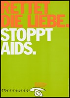 """view A white telephone advertising AIDS counselling services offered by health authorities and voluntary organizations; with the message ''Save love. Stop AIDS"""". Colour lithograph by Papen, Hansen, 199-."""