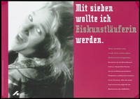 view The head of a woman leaning back and smiling, advising HIV-positive people not to give up hope of living but to seek counselling. Colour lithograph by Projekt-PR and C. Padberg after A. Buss for the Deutsche AIDS-Hilfe e.V.