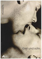 "view The faces of two men with stubble kiss with open mouths, with the message: ""To kiss: sexy and safe""; an advertisement for safe sex by the Deutsche AIDS-Hilfe e.V. Colour lithograph by Ingo Taubhorn and Trash Line Design."