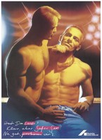 view Two bare-chested men in a nightclub agree to safe sex; an advertisement for safe sex by the Deutsche AIDS-Hilfe e.V. Colour lithograph by H.-H.Salmon, 1990.