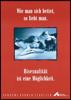 view Two men and a woman lie on top of each other with a warning that bisexuality is possible as long as safe sex is practised; an advertisement by the Deutsche AIDS-Hilfe e.V. Colour lithograph by Friedrich Baumhauer and Wolfgang Mudra.