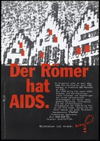 """view The three gables of Frankfurt town hall with red squares and the message """"The town hall of Frankfurt has AIDS""""; advertising the work of the AIDS-Hilfe Frankfurt for those with HIV and AIDS. Colour lithograph by Typo Wenz Artwork GmbH."""