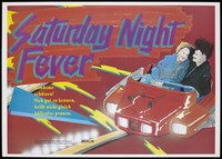 """view A couple sit laughing in a bumper car at a fair with the words """"Saturday Night Fever""""; an advertisement for safe sex by the Senatsverwaltung für Gesundheit und Soziales and Senatsverwaltung für Frauen, Jugend und Familie, Berlin. Colour lithograph."""