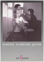 view A prostitute dressed in white lingerie and tights and heels pulls the tie of a man who is seated and counting notes; an advertisement for safe sex by Deutsche AIDS-Hilfe e.V. Colour lithograph by D.U.T.T.A. and Augenblitz.