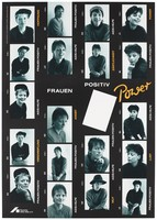 """view Four strips of numbered positive photos of four different women with the words: """"Frauen Positiv Power'; a message about HIV positive women by Deutsche AIDS-Hilfe. Colour lithograph by Renate Altermath and Augenblitz."""