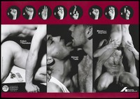 view Two men engaged in anal sex, kissing and oral sex with the message 'Safer sex' shown in sign language above; an advertisement for deaf people in Berlin by the Deutsche AIDS-Hilfe e.V. Colour lithograph by M. Taubenheim and W. Mudra, 199-.