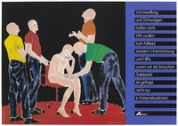 view Reflexion/Reaktion II by Salomé featuring a naked bald-headed man sitting on a red chair against a black backdrop as another man reaches out as if to comfort him with three other bald-headed men in different coloured shirts appearing to look up in despair; an advertisement for support for those affected by AIDS by Deutsche AIDS-Hilfe e.V. Colour lithograph by Salomé and Wolfgang Mudra, 1988.