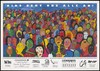 A crowd of people with the words 'AIDS geht uns alle an!' [AIDS affects all of us!], a painting by Angelique Sahin representing an advertisement for an art auction [?] organised by AIDS-Hilfe Freiburg with proceeds benefiting those affected by AIDS. Colour lithograph.