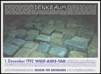 view Stones bearing the names of AIDS victims; advertising World AIDS Day 1992 in Berlin. Colour lithograph by the Arbeitsgemeinschaft deutscher AIDS-Stiftungen and Deutsche AIDS-Hilfe.