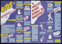 view An information sheet about AIDS for parents, teachers and students with 7 questions and answers and illustrations on how AIDS is not transmitted; an advertisement by the Federal Minister for Youth, Family, Women and Health. Colour lithograph by Mike Biele, Papen and Design Werkstatt.