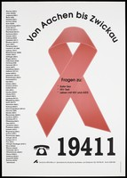 view The AIDS red ribbon with a list of AIDS helplines available in Germany; an advertisement by Deutsche AIDS-Hilfe e.V. Colour lithograph by Lucy Rüttgers.
