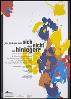 view Multi-coloured footprints coming and going; advertising the 6th Federal Assembly of People with HIV and AIDS, Cologne-Riehl. Colour lithograph for the Deutsche AIDS-Hilfe.