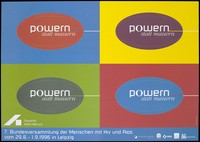 """view The words """"Powern statt Mauern"""" in four ovals within four rectangles; advertising an AIDS congress in Leipzig, 1996. Colour lithograph by Wendt & Werner for the Deutsche AIDS-Hilfe e.V., 1996."""