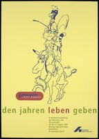 view A dog with a syringe, a cat bearing two joined female symbols and a cockerel with a horse whip all piled up on top of a horse wearing high-heeled shoes; advertising an AIDS congress in Bremen, 1997. Colour lithograph by Deutsche AIDS-Hilfe.