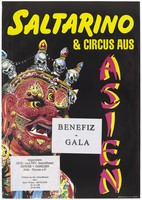view A red and gold decorated head with an open mouth adorned with skeletons wearing crowns representing an advertisement for Saltarino, an asian circus AIDS gala in support of children and families affected by AIDS and HIV; organised by the AIDS-Forum e.V. Colour lithograph.