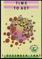 view A six-sided pamphlet advertising the year of the family, World AIDS Day, 1st December 1993 by the World Health Organization, Global Programme on AIDS; front page illustrates a group of men, women and children of various races stand on a pink circle representing the world with red spiked balls floating around them. Colour lithograph.