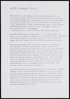 view Typescript text about the 'AIDS Gedenk Buch', the AIDS memorial book. Photocopy.