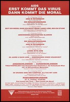 view A schedule of events including films, public discussions and theatre about AIDS on show between 1987 and 1988 by the Österreichische AIDS-Hilfe. Colour lithograph by Josef Neuf Gesellschaft m.b.H., 1988 [?].