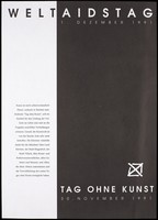 """view Advertisement for a """"Day Without Art"""" on 30 November 1991, a symbol of the extent of loss of life and the tragedy of unfulfilled promises to commemorate World AIDS Day on 1 December 1991. Lithograph, 1991."""