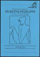 view The line drawn back view of a woman representing an advertisement for a therapeutic self-help group for women with HIV and AIDS by the Berliner AIDS-Hilfe. Colour lithograph, ca. 1996.