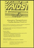 view The words 'AIDS' forming the centre of a maze with four figures on the outside holding maps in an attempt to find their way in; an illustration by Ingram Pinn advertising a meeting in Berlin for alternative forms of therapy for those with HIV and AIDS; held on 11 January 1994 at the headquarters of Kursiv, the Centre for AIDS and advice for gay men. Photocopy, 1994.