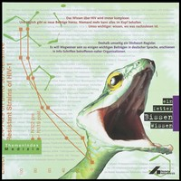 view A snake poised to bite; representing a mouthful of knowledge about AIDS through publications by the Deutsche AIDS-Hilfe. Colour lithograph by E. Hüskes, 1995.