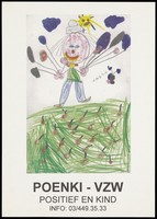 view A child's drawing of a smiling figure wearing a hat and appearing to hold numerous balloons beneath a personified sun and grass littered with red flowers; an illustration by Vasna [?] representing an advertisement for an information helpline for children with HIV by Poenki vzw - Positief en Kind [[HIV] Positive and Child]. Colour lithograph, ca. 1996.