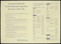 view A message about the fear of being HIV positive with an illustrated table of the risks of contamination and the means of protection; an advertisement by l'Agence de Prevention du SIDA Lutte Contre l'Exclusion des Seropositifs. Colour lithograph, ca. 1995.
