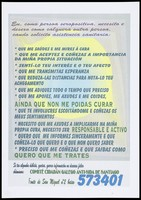view A message in Galician about what to do if you have HIV by the Comité Cidadán Galego Anti-SIDA de Santiago. Colour lithograph, ca. 1996.