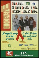 view Two men and women standing on the deck of a boat against the sea representing an advertisement for World AIDS Day on 1st December supported by the Asociación de Lucha Contra el SIDA, Euskal Telebisata and the bank, BBK: Bilbao Bizkaia Kutxa. Colour lithograph, ca. 1995.