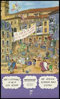 view A walkway curving around into a street plaza/square populated with people engaged in various activities with numerous signs with messages relating to AIDS and HIV; an advertisement by the Comision Anti-SIDA de Alava. Colour lithograph, ca. 1997.