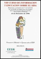 view A man hugging a woman and raising her from the floor representing an advertisement for the 8th course on AIDS education for students at the Instituto Marqués de Santillana on 13 December 1996; organised by the Centre de Estudios Sociales Aplicados [Center of Applied Social Studies] and the Gobierno de Cantabria Consejeria de Sanidad, Consumo y Bienestar Social [Government of Cantabria, Department of Health, Consumption and Social Welfare]. Colour lithograph by Michael Emberly, 1996.