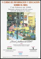 """view Four children sit chatting about AIDS while eating bread around a table representing an advertisement for the 5th course on AIDS education for higher education students in the 'Centro"""" district of Madrid; held at the Centro Cultural """"Puerta de Toledo"""" in Madrid on 7 February 1995; organised by the Centre de Estudios Sociales Aplicados [Center of Applied Social Studies]. Colour lithograph by Irene Bordoy, 1995."""