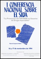view Two blue shapes torn in half to reveal an orange circle, as if the sun; an advertisement for the 1st national conference on AIDS prevention for drug users from 16 to 17 November 1994 at the Palacio de Congresos de Madrid; organised by the Ministry of Social Affairs and Health Consumption in Spain. Colour lithograph, 1994.