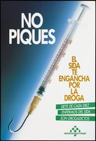 view A syringe with a hooked needle suggesting drugs get you hooked; organised by the Ministry of Social Affairs and Health Consumption in Spain. Colour lithograph, 1994.